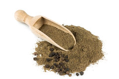 Black pepper in a spoon stock image