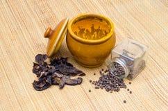 Black Pepper, tamarind and turmeric powder Royalty Free Stock Image