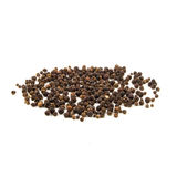 Black pepper was placed on a white background.  Stock Photo
