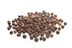 Black pepper on white background  Royalty Free Stock Image