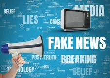 Fake news text with television and megaphone. Digital composite of Fake news text with television and megaphone Stock Image