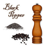 Black Pepper, Wood Pepper Mill Royalty Free Stock Images