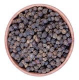 Black pepper in a  wooden bowl Stock Photos