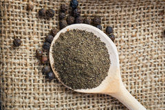 Black pepper on the wooden spoon Stock Photos