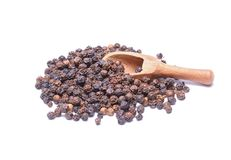 Black peppercorn isolated on white background stock images