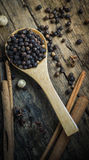 Black Peppercorn. Spicy black pepper spices as food ingredients Stock Photography