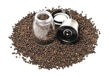 Black peppercorns. On white background stock photos