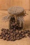 Black peppercorns in a jar Royalty Free Stock Photo