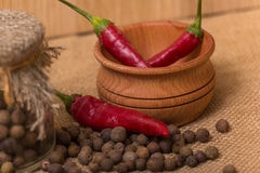 Black peppercorns and red pepper Stock Photos