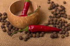 Black peppercorns and red pepper Royalty Free Stock Images