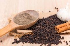 Black peppercorns Stock Images