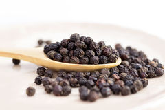 black peppercorns on wooden spoon. Royalty Free Stock Photography