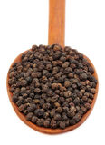 Black peppers on a wooden spoon Stock Photography
