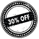 Black 30 PERCENT OFF distressed rubber stamp with grunge texture. Illustration Stock Photos