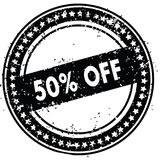 Black 50 PERCENT OFF distressed rubber stamp with grunge texture. Illustration Stock Image