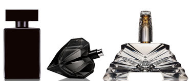 Black perfume bottle on white background Stock Image