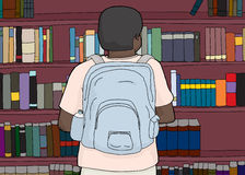 Black Person with Backpack at Library Stock Photo
