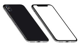 Black perspective similar to iPhone X smartphone mockup front and back sides CCW rotated. Perspective similar to iPhone X smartphones mockup front and back side stock photo