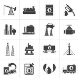 Black Petrol and oil industry icons. Vector icon set Stock Photo