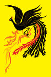 Black Phoenix. A black phoenix flapping it's wings flying up to the sky royalty free illustration