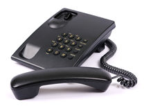 Black phone. On a white background Royalty Free Stock Image