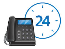 Black phone - 24 hour support. Black phone - 24 hour call center support Stock Images