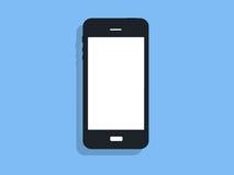 Black phone on blue background Stock Photo