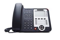 Black phone closeup. Isolated on white background Royalty Free Stock Photo