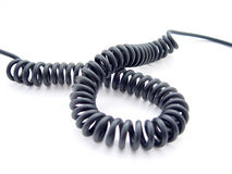 Black Phone Cord. On white background Royalty Free Stock Photography