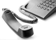 Black phone. With a handset Stock Photos