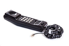 Black phone handset. With soft shadow on white Stock Photos