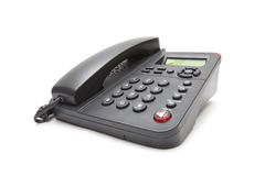 Black  phone isolated on white background. Closeup Royalty Free Stock Photos