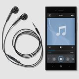 Phone and music. Black phone with ultramodern earphones on a white background Stock Photo