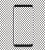 Black phone vector with transparent screen on transparent background. Black phone with transparent screen  on transparent background glass glossy new cellular Royalty Free Stock Photo