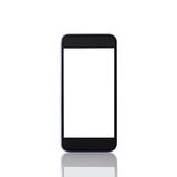 black phone with a white screen and reflection Royalty Free Stock Photos