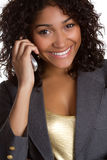 Black Phone Woman royalty free stock photo