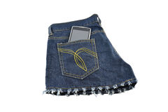 Black phone in your pocket blue jeans Stock Images