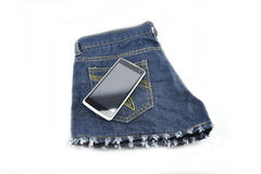 Black phone in your pocket blue jeans Royalty Free Stock Photography