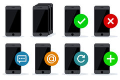 Black phones icons with different actions Royalty Free Stock Photography