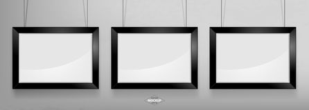 Black photo frame Mockup. Vector Illustration. Black photo frame Mockup Vector Illustration. Empty red photo frames mockup on a concrete wall Royalty Free Stock Images