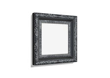 Black photo frame with pattern on white background. 3d rendering Royalty Free Stock Images