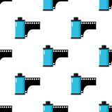 Black Photo Roll or Film Seamless Pattern. A seamless pattern with black and blue photo roll or film flat icon, isolated on white background. Useful also as Royalty Free Stock Images