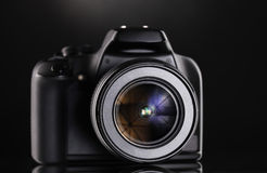 Black photocamera Stock Images