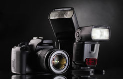 Black photocamera with flash Royalty Free Stock Photo