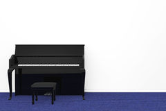 Black Piano with chair Stock Image