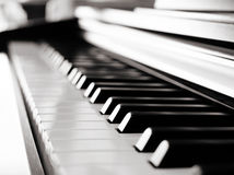 Black piano close up Stock Photography
