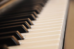 Black piano. Close up blur background and foreground royalty free stock image