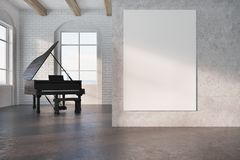 Black piano in a concrete room, poster Royalty Free Stock Photo