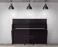 Black piano in front of Brick Wall with Blank Frame Royalty Free Stock Images