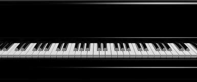 Black piano keys front view Stock Photo